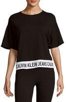 Calvin Klein Jeans Heathered Drop-Shoulder Cotton-Blend Top