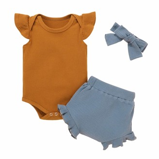 Borlai Newborn Infant Summer Outfits Rib Short Sleeve Vest Romper+Ruffle Pants+Headband Casual Colthes Set