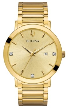 Bulova Men's Futuro Diamond Dress Diamond-Accent Gold-Tone Stainless Steel Bracelet Watch 42mm