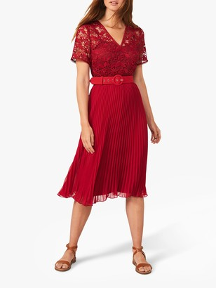 Phase Eight Dana Lace Bodice Pleated Dress, Ruby