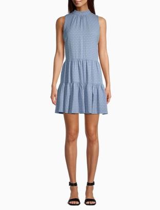 Calvin Klein Mock Neck Tiered Sleeveless Dress