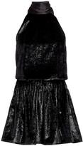 Ramy Brook Lori Shimmer Velvet Halter Mini Dress