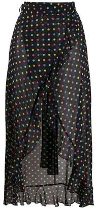 Agent Provocateur Sheer Polka Dot Wrap Skirt