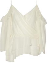 Rachel Zoe Renee Cold-Shoulder Asymmetric Crinkled Silk-Chiffon Top