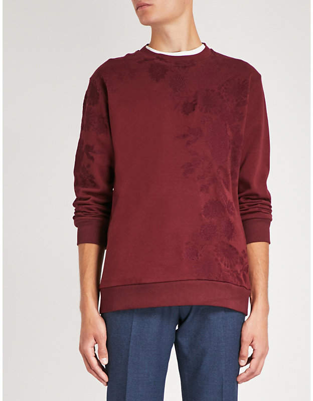 Etro Floral-embroidered cotton-blend sweatshirt