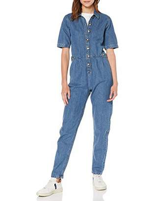 Miss Selfridge Women's Blue Short Sleeve Boiler Jumpsuit 110, (Size:)