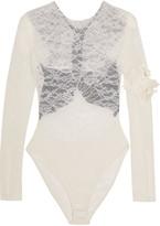 Preen by Thornton Bregazzi Varlese appliquéd lace and stretch-crepe bodysuit