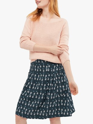 White Stuff Charlie Polka Dot and Tree Print Flared Linen Skirt, Navy