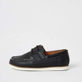 River Island Boys navy lace-up boat shoes