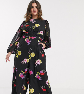 Lost Ink plus waisted jumpsuit in bold floral print