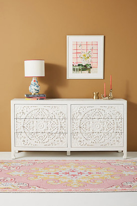 Anthropologie Handcarved Lombok Six-Drawer Dresser By in White