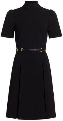 Gucci Stretch Mockneck Horsebit Belted Dress