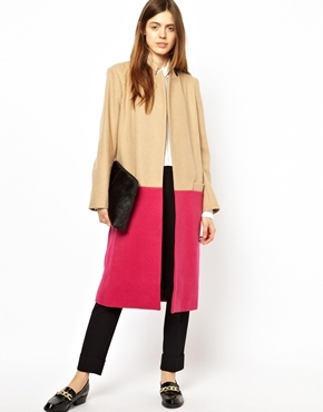 Asos Long Line Coat in Bright Color Block