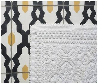 Harmony 55 x 110cm Cotton Patterned Kymi Bath Mat - brick - Linen/Brick/White