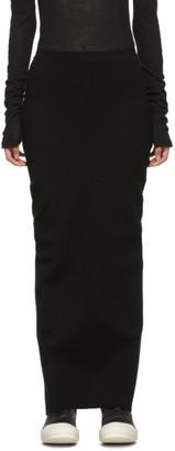 Rick Owens Black Viscose Jersey Long Skirt
