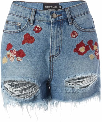 The Fifth Label Women's Dallas Embroidered Distressed Cut-Off Denim Shorts