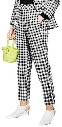 Topshop Gingham Tapered Trousers