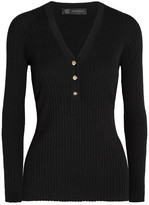 Versace Ribbed Wool-blend Sweater - Black