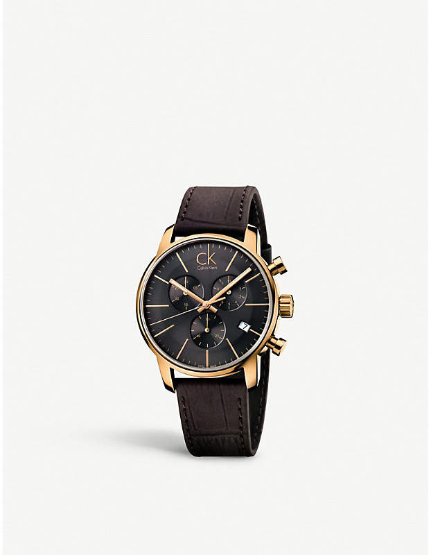 Calvin Klein K2G276G3 City PVD rose gold-plated leather strap chronograph watch