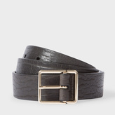 Paul Smith Men's Dark Grey Heavy Grained Calf Leather Integrated Keeper Belt