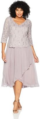 Alex Evenings Women's Plus-Size Tea Length Dress with Sleeves