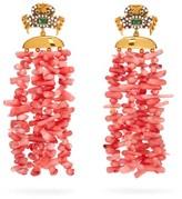 Amalfi by Rangoni Begum Khan - King Crab Beaded 24kt Gold-plated Earrings - Womens - Green Multi