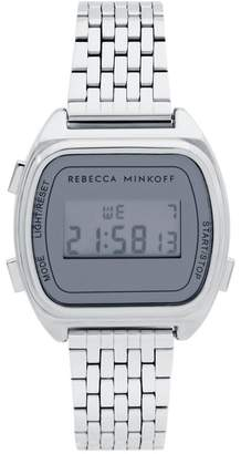 Rebecca Minkoff Digital Silver Tone Bracelet Watch, 34Mm