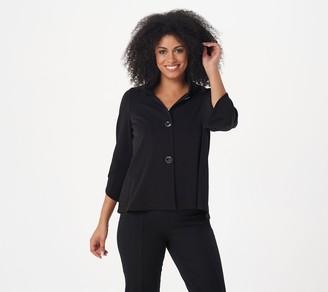Susan Graver Liquid Knit Luxe Button- Front 3/4- Sleeve Jacket