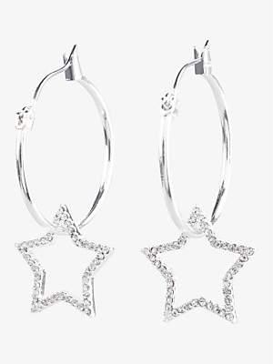 Hush Mia Star Hoop Earrings, Silver
