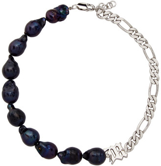 Misbhv Silver and Purple Pearl Liquid Necklace