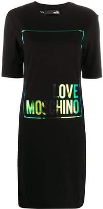 Love Moschino foil logo print T-shirt dress