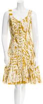 Oscar de la Renta Printed Pleated Dress