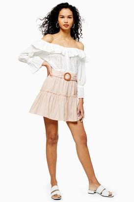 Topshop Womens Pink Linen Blend Tiered Mini Skirt - Pale Pink