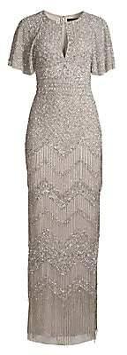 Aidan Mattox Women's Fully Beaded Evening Gown
