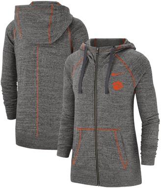 Nike Women's Heathered Gray Clemson Tigers Color Trim Gym Vintage Full-Zip Hoodie