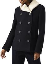 Jigsaw Faux Fur Collar Pea Coat, Dark Navy