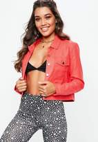 Missguided Red Faux Leather Trucker Jacket, Red