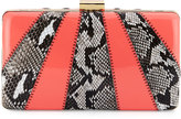 Franchi Collection Jen Snake-Embossed Evening Clutch Bag, Natural/Coral