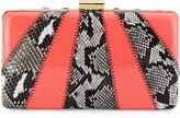 Franchi Jen Snake-Embossed Evening Clutch Bag, Natural/Coral