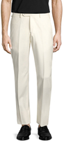 Lubiam Wool Solid Flat Front Trousers