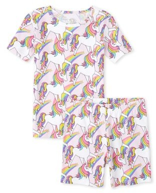 The Children's Place The Childrens Place Short Sleeve All Around Rainbow Unicorn Print Pajama Short Set (Big Girls)