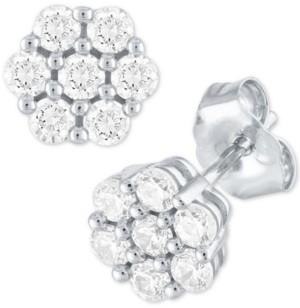 Forever Grown Diamonds Diamond Cluster Stud Earrings (1/2 ct. t.w.) in Sterling Silver