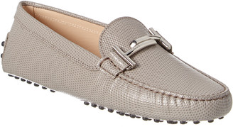 Tod's Double T Reptile-Embossed Leather Loafer