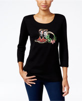 Karen Scott Petite Holiday Boots Graphic Top, Only at Macy's
