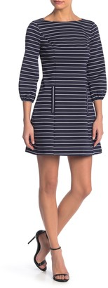 Eliza J Puff Sleeve Striped Mini Dress (Petite)