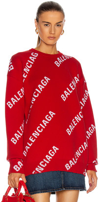 Balenciaga Long Sleeve Logo Crew Neck Sweater in Red & White | FWRD