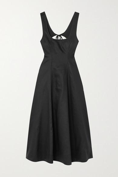 Thumbnail for your product : Zimmermann Lulu Open-back Linen Midi Dress - Black