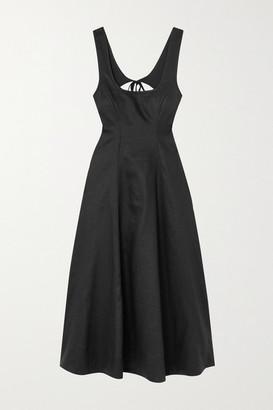 Zimmermann Lulu Open-back Linen Midi Dress - Black