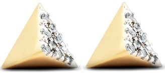 Pompeii3 14k Yellow Gold Diamond Cube Studs Pave Spike Triangle Womens Earrings 7MM