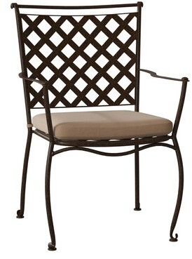 Woodard Maddox Stacking Patio Dining Chair Woodard Cushion Color: Altitude Sky, Frame Color: Chestnut Brown